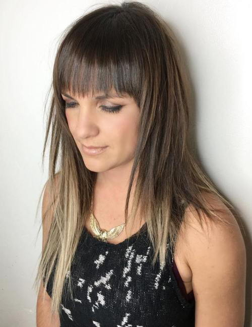 ארוך Layered Haircut With Bangs