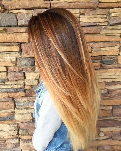 ilgai caramel and blonde ombre for dark brown hair