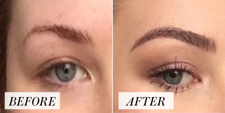 žena's brows before and after filling them in