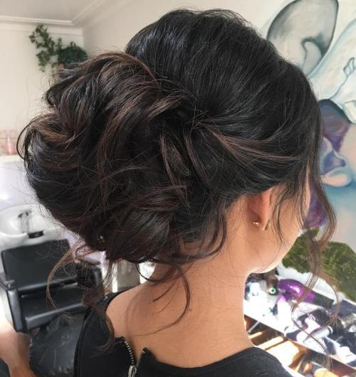 Curly Bun Updo For Long Hair