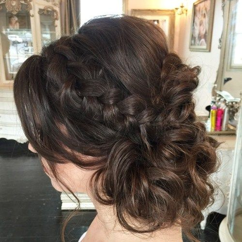rodet brunette updo with a braid for medium hair