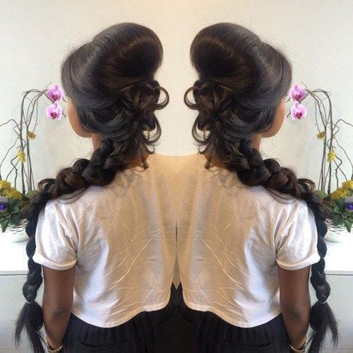 lang messy braid with a bouffant