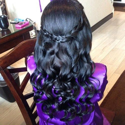 formel curly half up half down hairstyle with braids